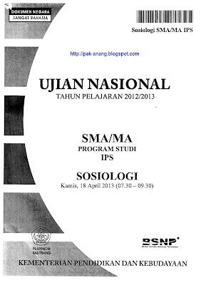 Naskah Soal Un Sosiologi Sma 2013 Paket 1
