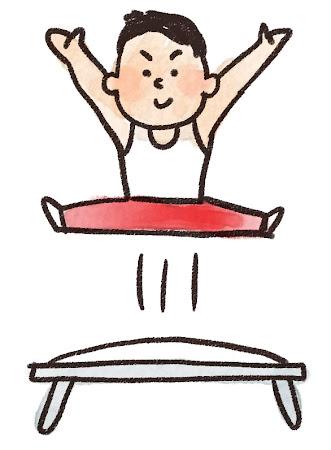 トランポリンを飛んでいる人のイラスト