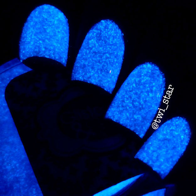 Blue glow in the dark nail polish Saber This Glisten and Glow