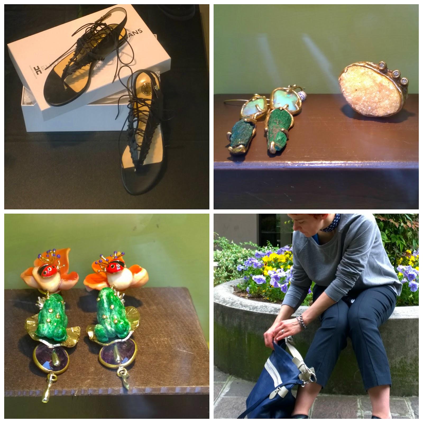 scarpe, bigiotteria, orecchini, anello, borsa