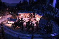 Town center section with nighttime lighting