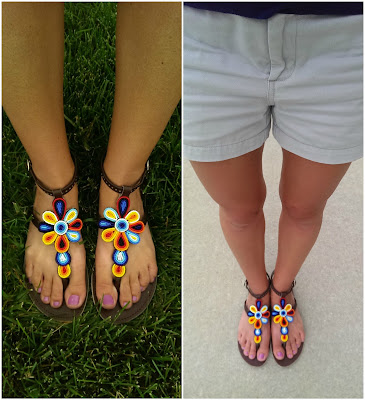 And here are a couple pics of me in my very own Ikwetta sandals! (c/o) They are so comfortable and the beading is really amazing. You can tell that a lot of work went into the making of these sandals. I hope that you will check them out here and here!