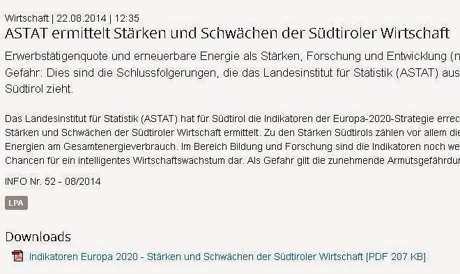KLAUS EGGER: Wo stehen wir? Südtirol im Fokus der EU Strategie 2020