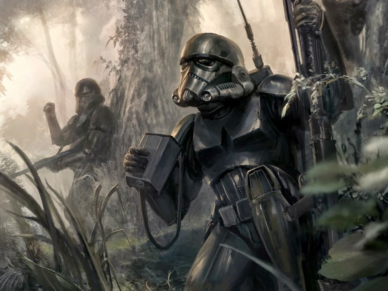 Storm troopers during a combat operation in the woods