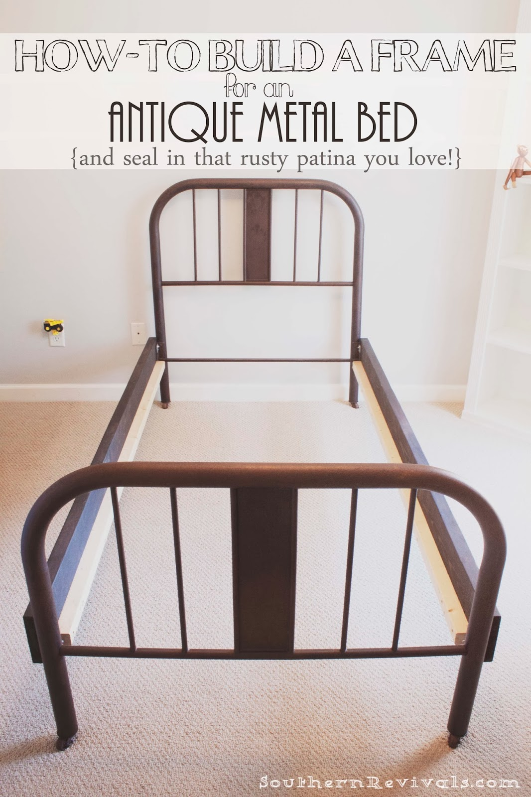 how to make a frame for an antique metal bed and seal in a rusty patina - Vintage Bed Frame