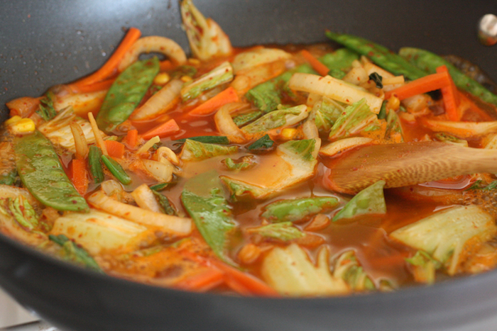 Cooking spicy korean veggies soup