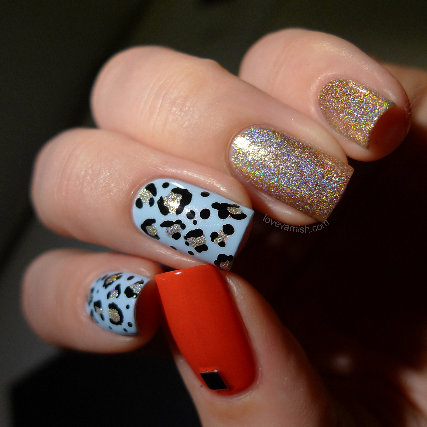 Rimmel Pillow Talk leopard nail art