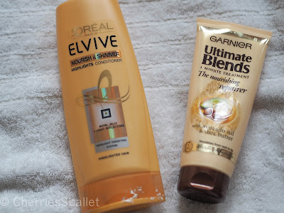 L'oreal Elvive Nourish & Shimmer Highlights Conditioner, Garnier Ultimate Blends 1 Minute Treatment The Nourishing Repairer