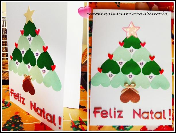 cartão romântico de natal com corações