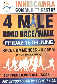 4 mile race NW of Cork City... Fri 15th June 2018