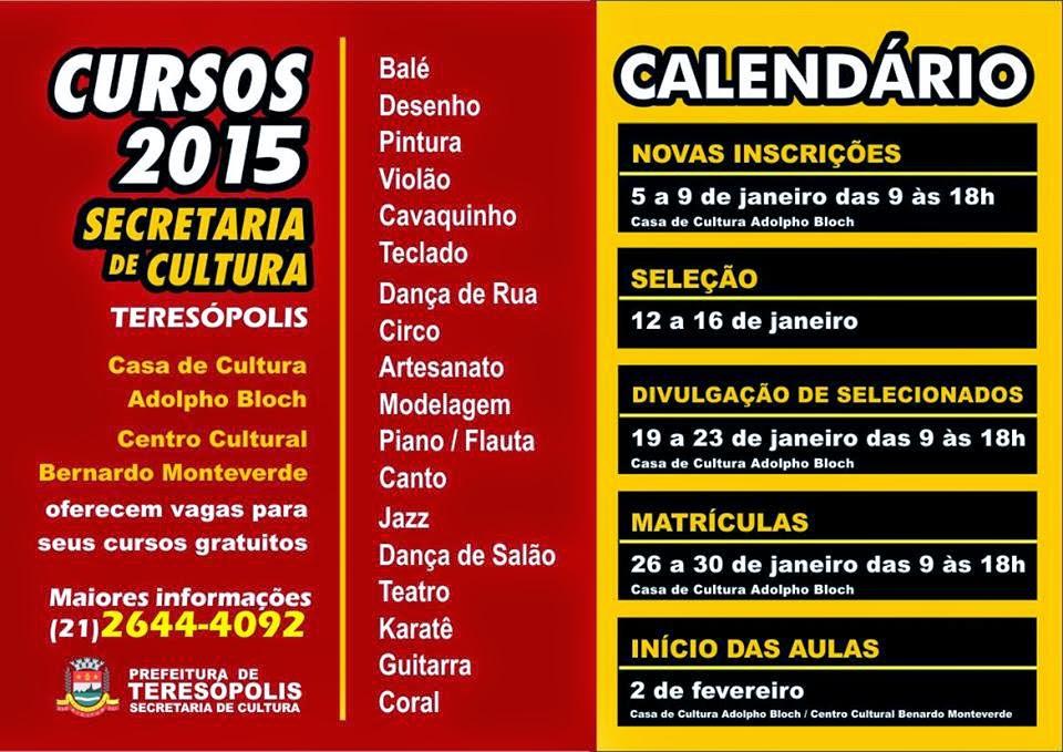Cursos gratuitos da Secretaria de Cultura de Teresópolis:Novas inscrições até esta sexta-feira