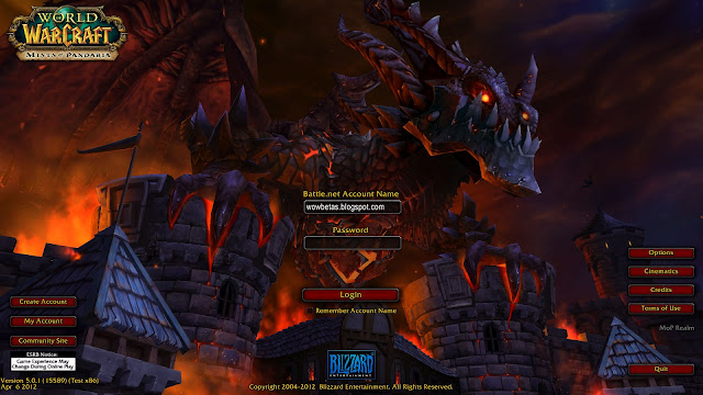 Login screen of Mist of pandaria Beta