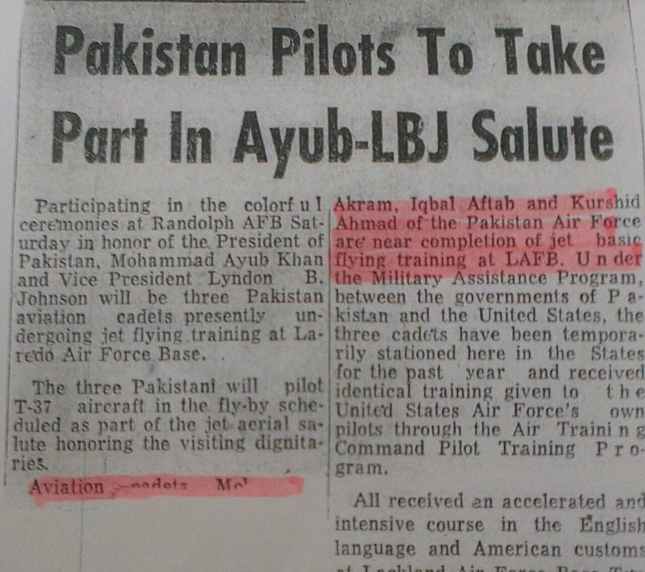 AVM Aftab took part in Ayub-LBJ Salute -1961
