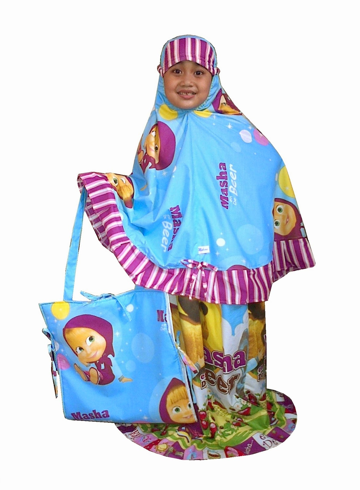 Mukena Anak Motif Masha & The Bear