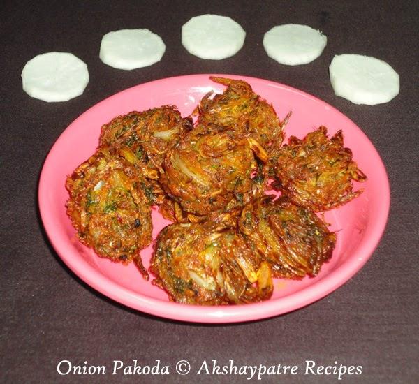 prepared shallow fried  onion pakoda