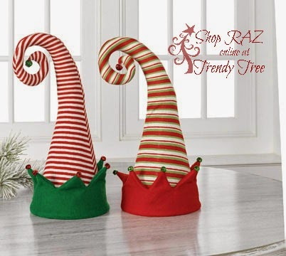 http://www.trendytree.com/raz-christmas-and-halloween-decor/raz-18-elf-hat-tree-topper-assorted.html
