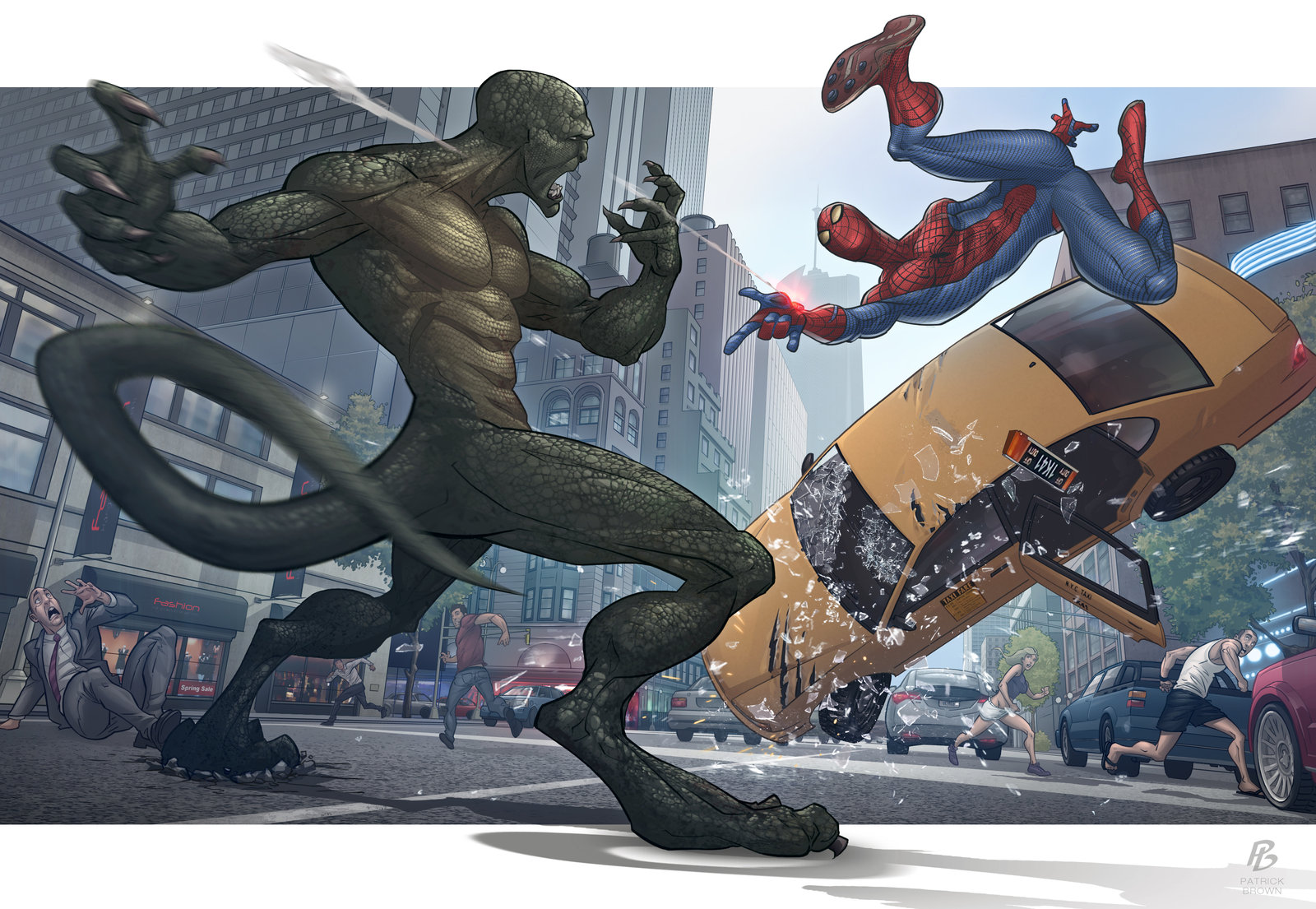 Lizard vs spider man awesome fan art done by deviantart artist patrick