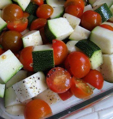 roasting sungold tomatoes and zucchini