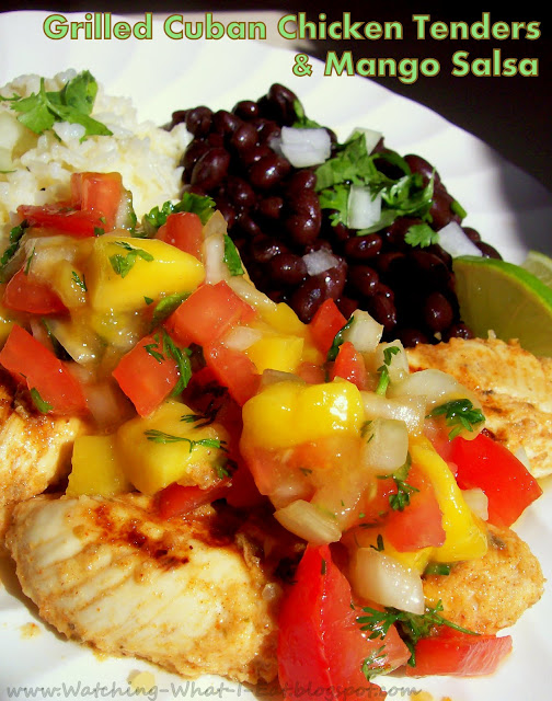 Grilled Cuban Chicken Tenders with Mango Salsa ~ served with Cilantro ...