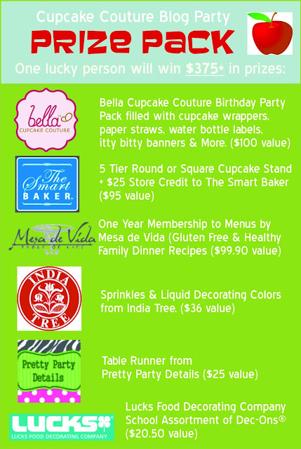 Back to school Bella Cupcake Couture blog party prize pack
