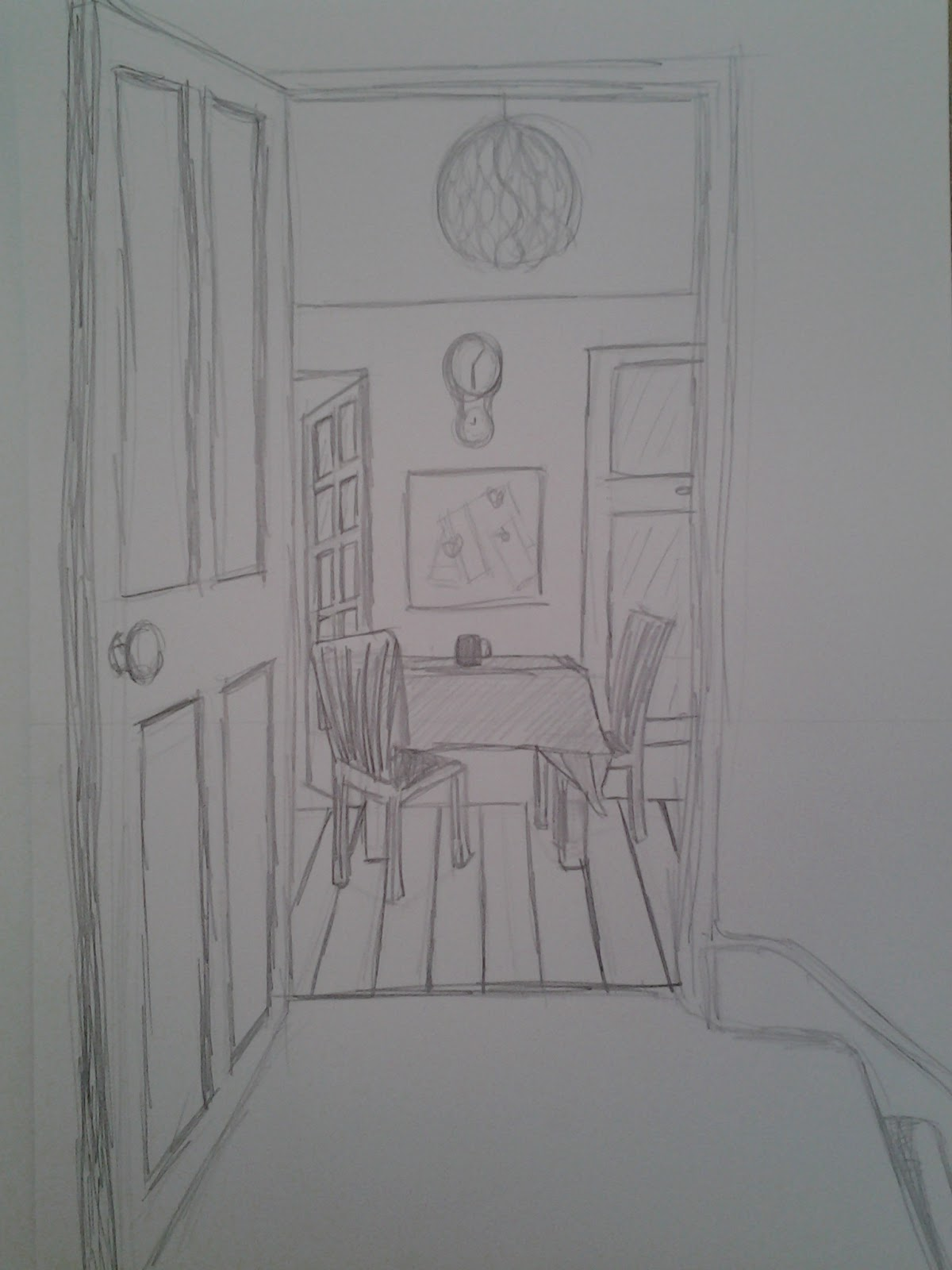 Open door drawing perspective - For This Exercise I Drew A Scene From An Open Door Leading Into My Kitchen With A Table And Chairs Window And Open Door Leading Into The Garden