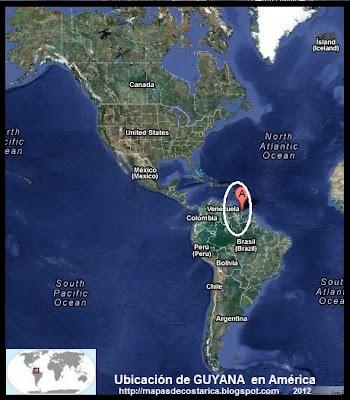 Ubicación de GUYANA en América, Vista Satelital