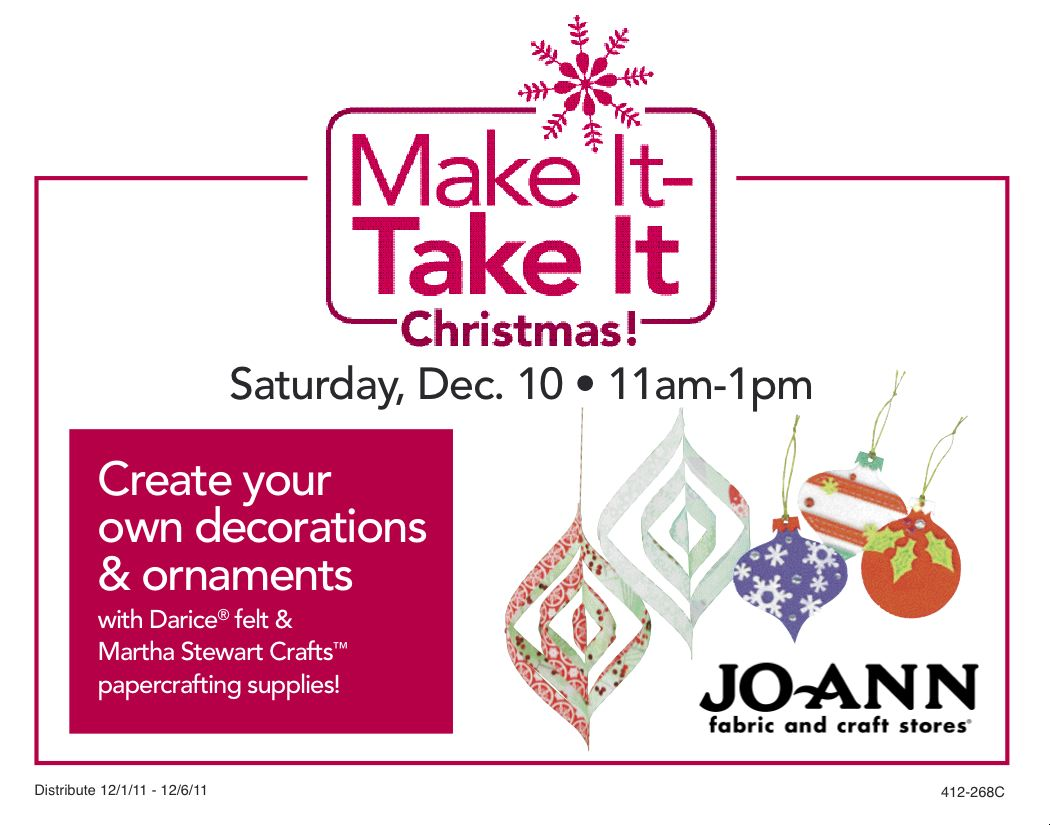 Make it take it ornaments jo ann fabric and craft stores for Make it take it crafts