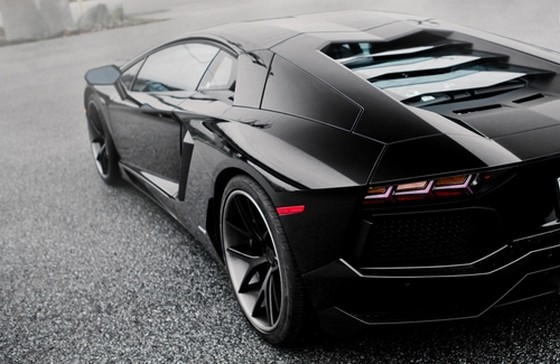 Lamborghini Aventador Black Car Back View Picfuel