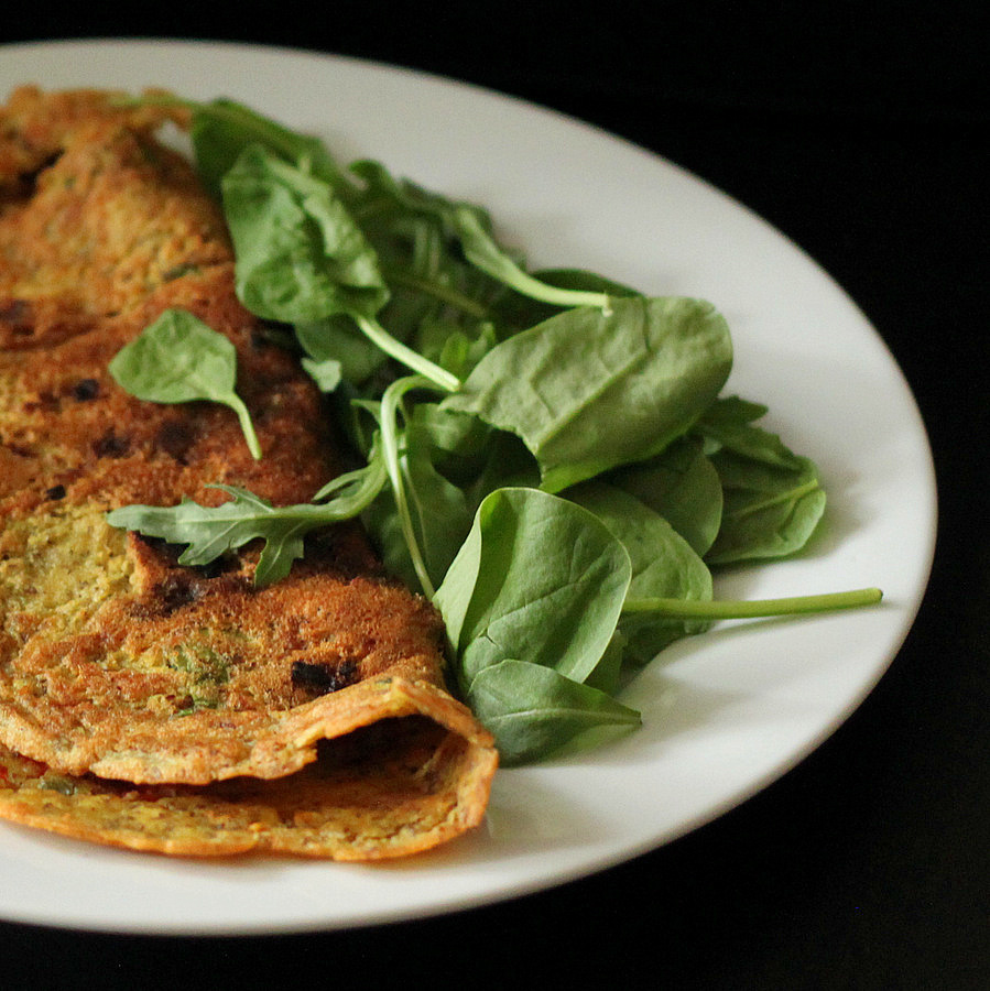 Denver Omelet Salad Recipe: Chickpea Flour Omelette With Spinach, Onion, Tomato, Bell