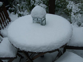 Garden Table and Chairs covered in Snow