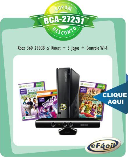 Xbox 360 250GB + Kinect + 3 Jogos + Controle Wi-Fi