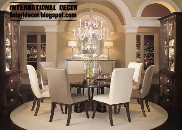 modern round dining table with 2 chairs colors, Spanish dining room ...