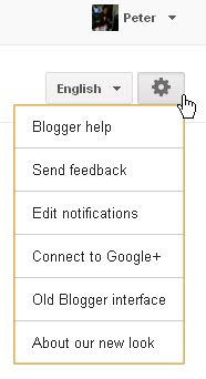 gear icon to change to old Blogger UI