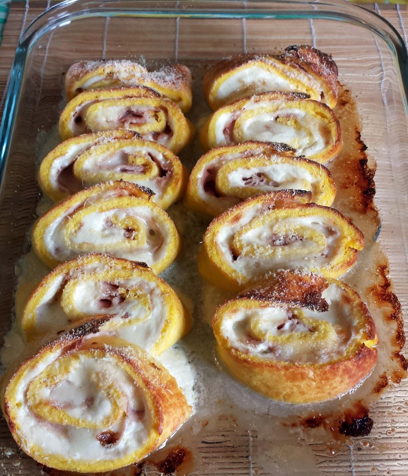 girelle (rotolini) di frittata al forno con formaggi