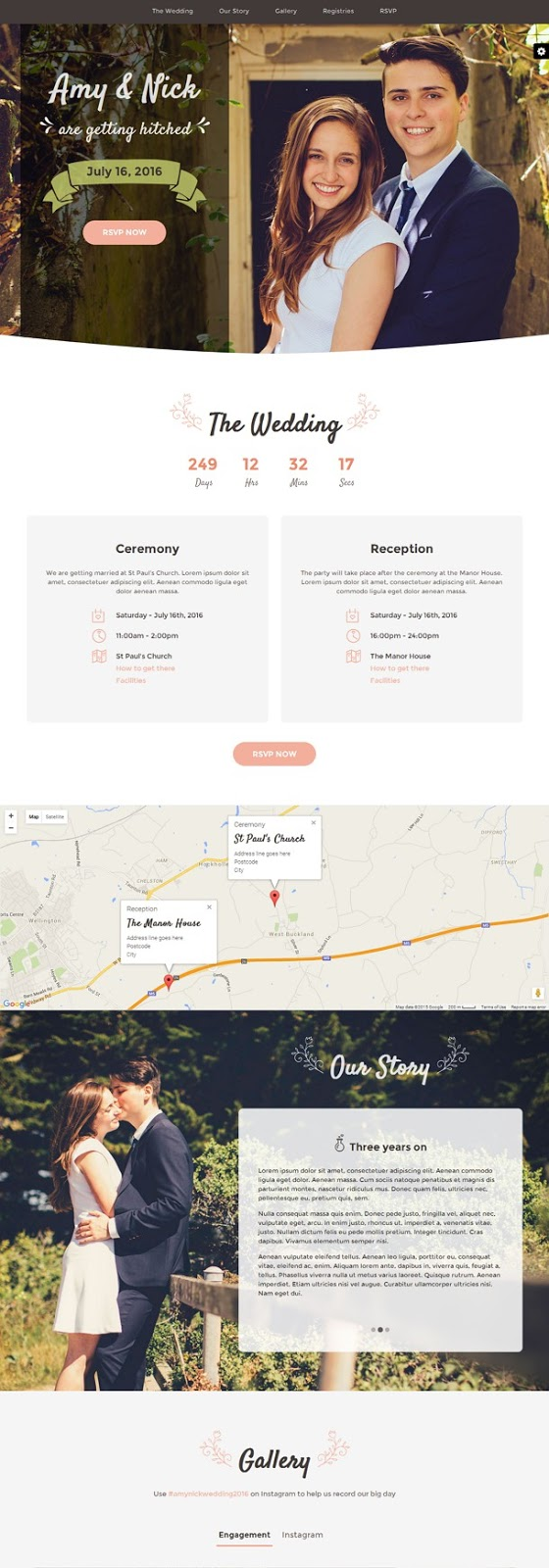 Matrimony Wedding Invitation Bootstrap Template