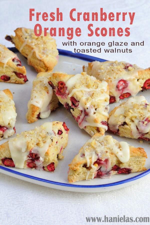 ... Fresh Cranberry Orange Scones with Orange Glaze and Toasted Walnuts