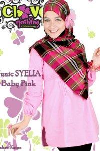Clover Clothing Blus Syelia - Baby Pink (Toko Jilbab dan Busana Muslimah Terbaru)
