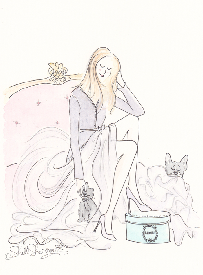 Fashion illustration, Lilac, Ladurée and Fluffballs © Shell-Sherree