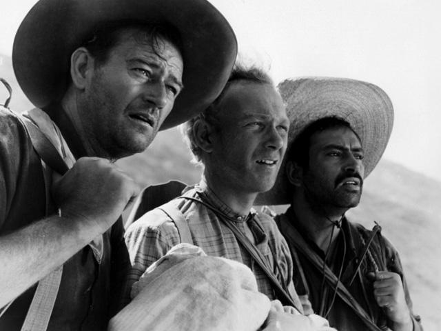 John Wayne, Harry Carey Jr. y Pedro Armendáriz en Tres padrinos.