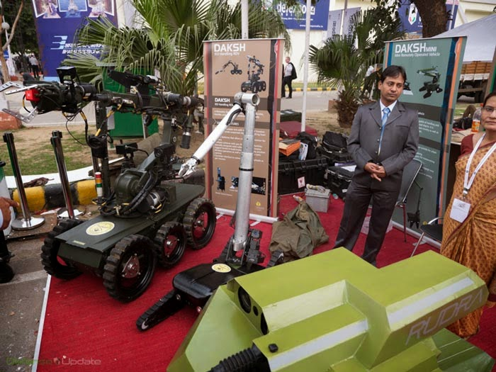 DAKSH IED handling robot. Foreground: RUDRA gun mounted ROV