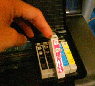 insert the epson cartridges