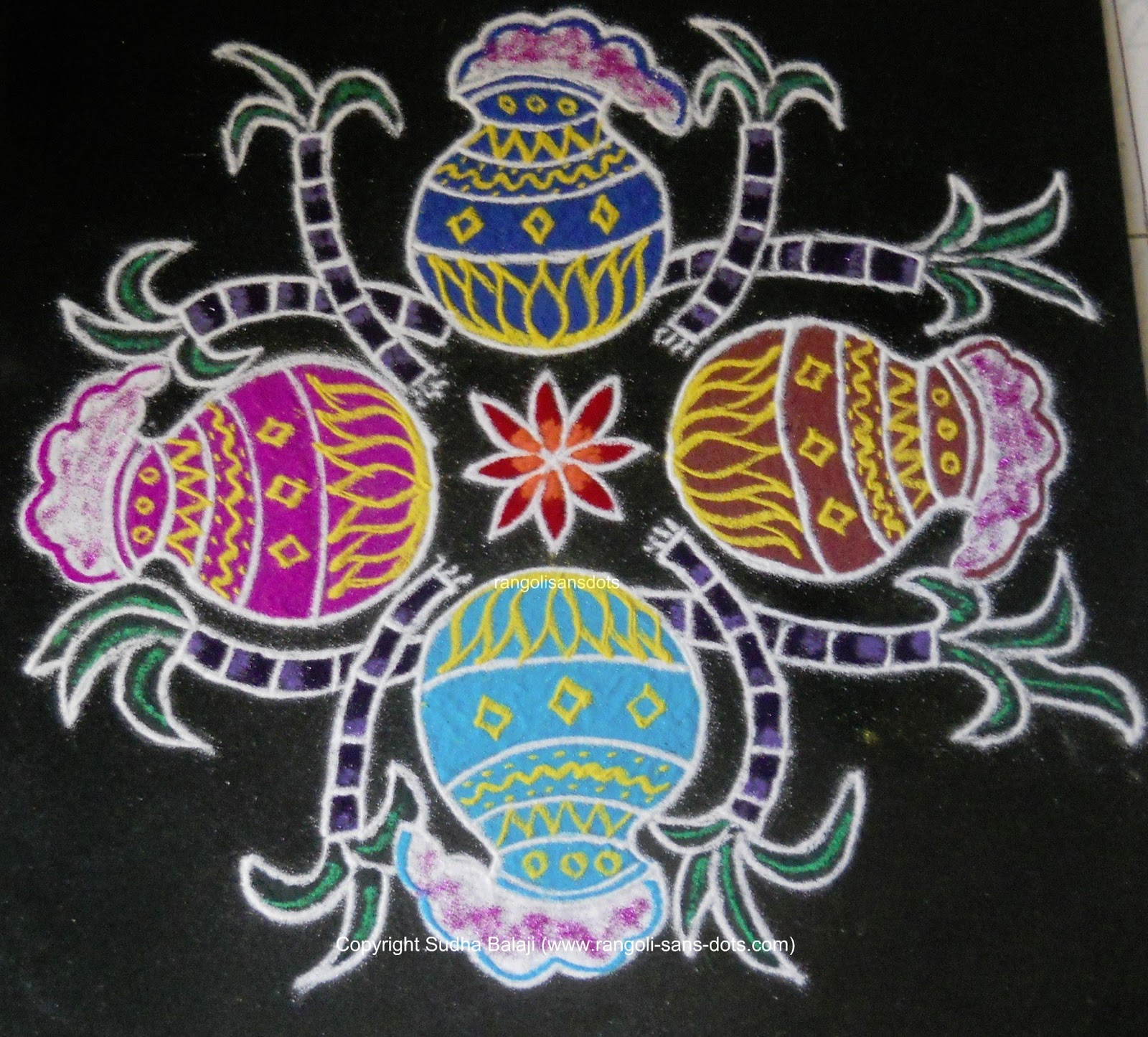 pongal is only a few days away so one freehand rangoli for this pongal ...