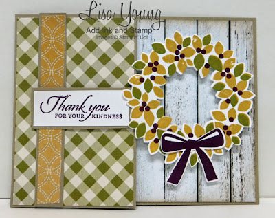 Stampin' Up! Wondrous Wreath stamp set. Fall Wreath. Bifold Latch card. Handmade card by Lisa Young, Add Ink and Stamp