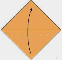 Bước 1: Gấp góc dưới cùng tờ giấy lên trên, vị trí gấp là đường đứt đoạn.
