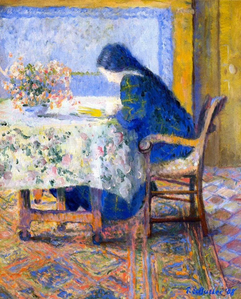 Theodore Earl Butler - Lili Butler Reading at the Butler House, Giverny