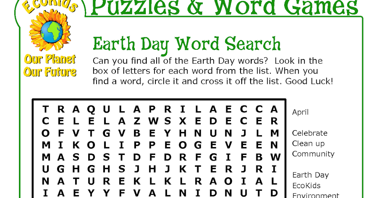 earth day word search pdf