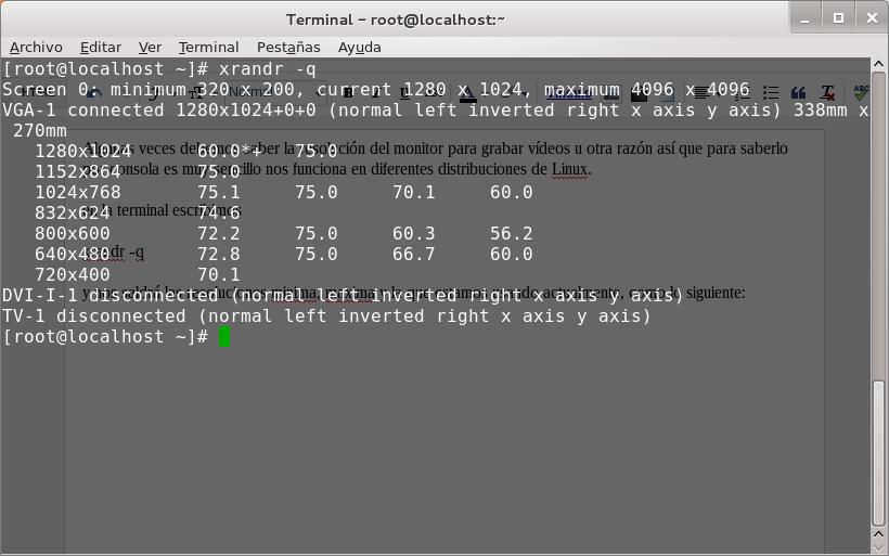 saber resolución de pantalla en linux con xrandr
