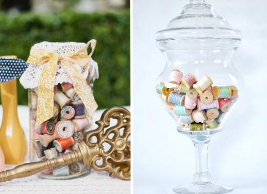 Centritavola da matrimonio alternativi, alternative wedding centerpieces, spools centerpiece
