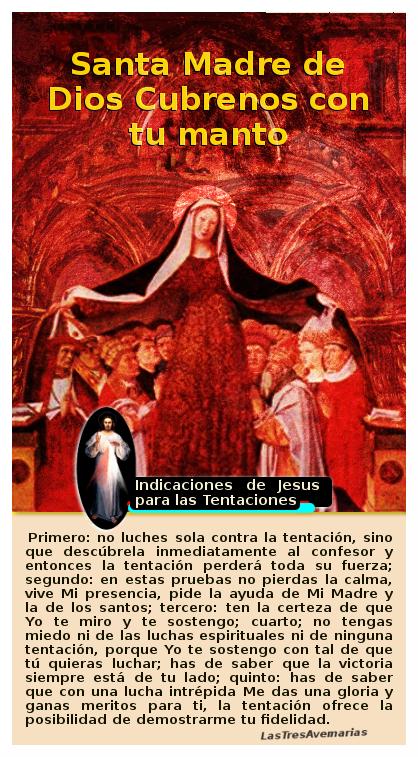 madre de dios cubre con su manto y divina misericordia