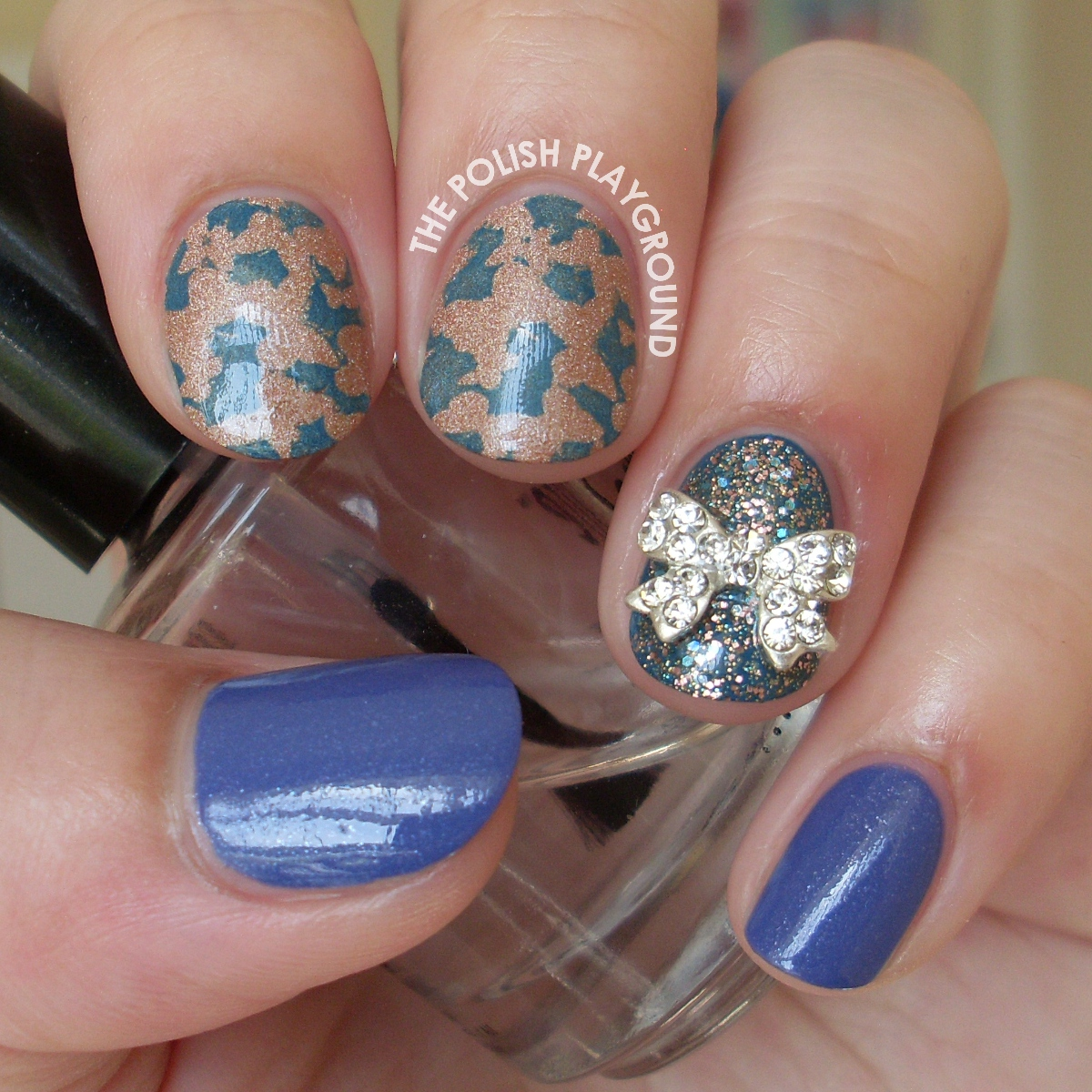 Butterfly Effect with Bow Stud Stamping Nail Art